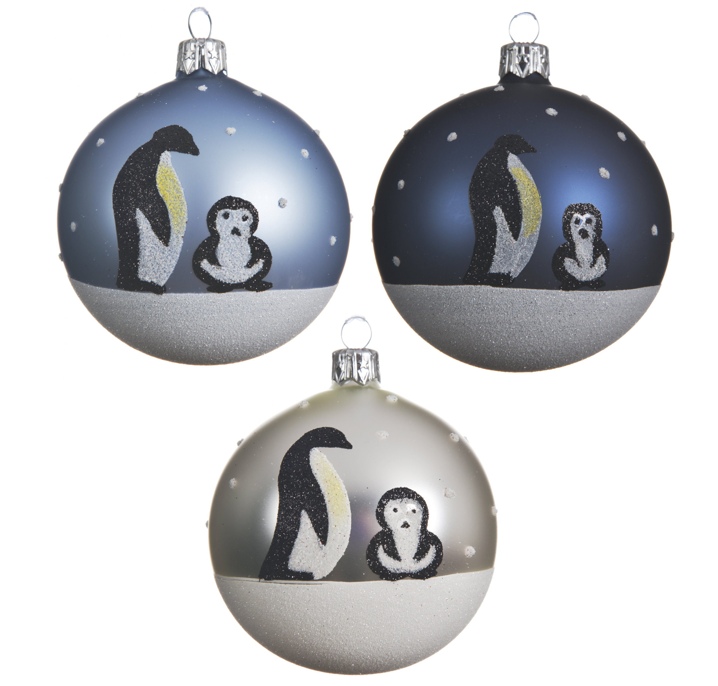 New In Snowy Penguin Glass Christmas Tree Baubles Navy Ice Blue Silver 8cm X 6 Ebay