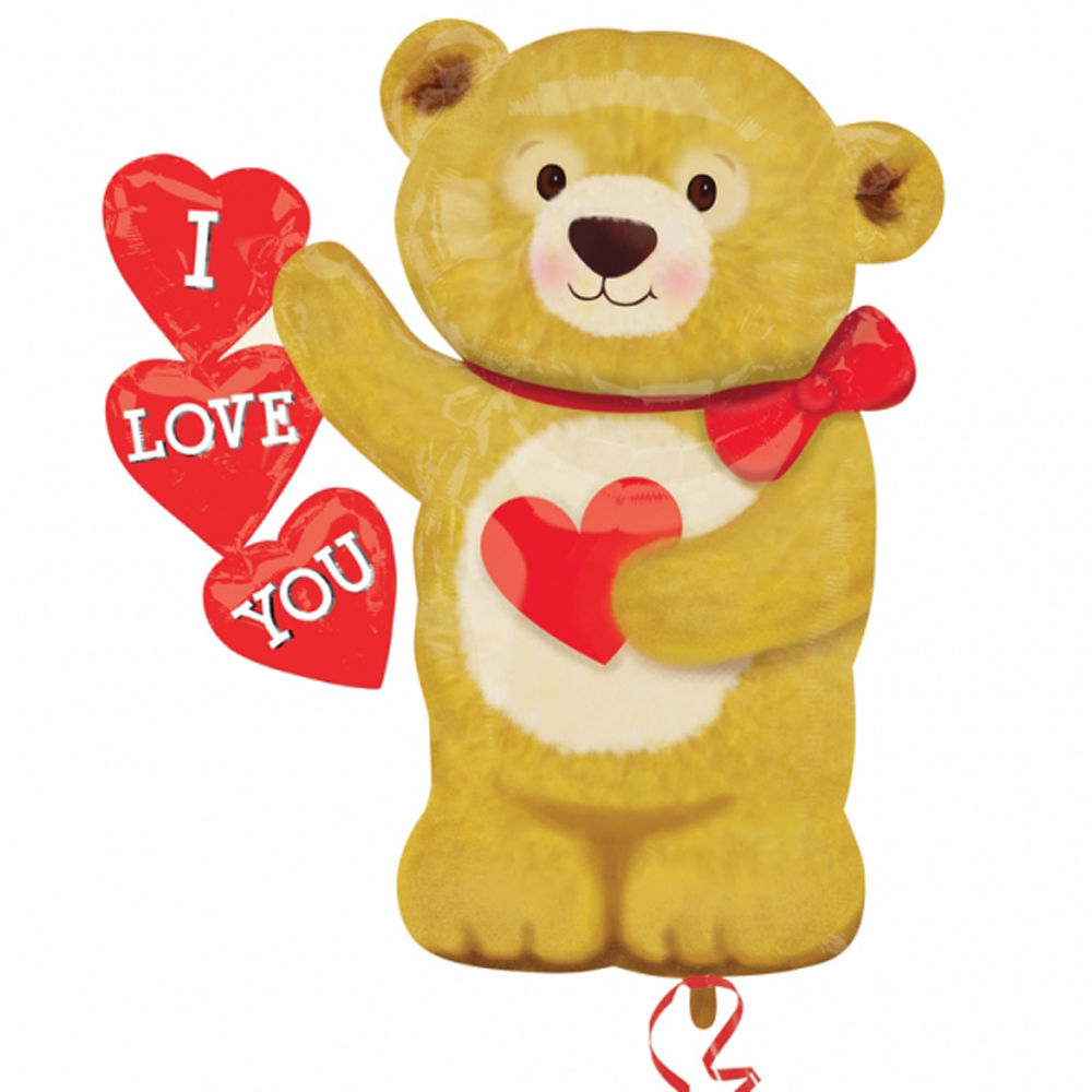 teddy bear shaped valentines love helium i love you teddy shape foil