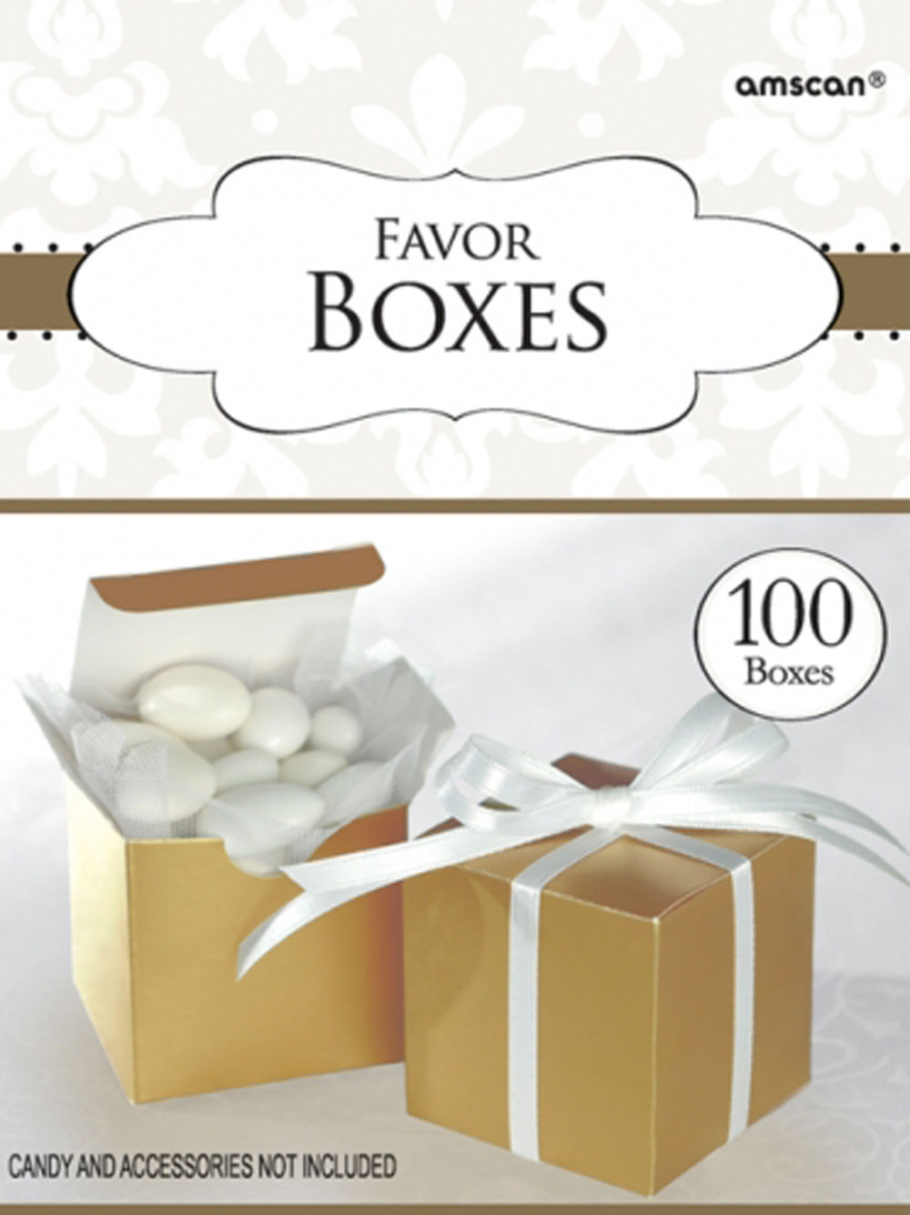 100 x 50th Anniversary FAVOUR BOXES Golden Wedding Gold Party Table ...