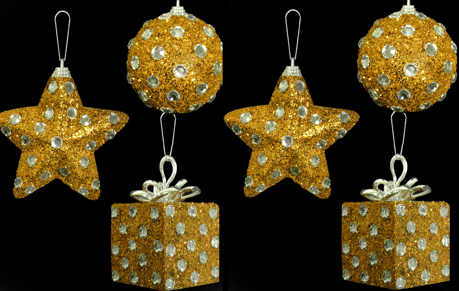 6 X Gold Diamante Polka Dot CHEAP Christmas Tree Baubles