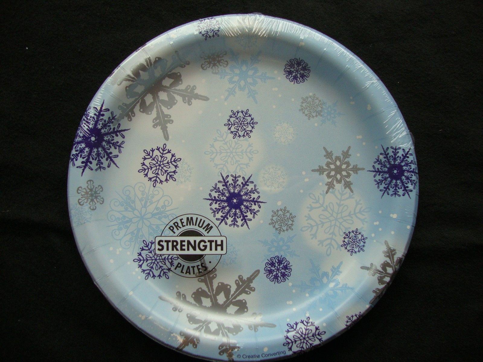 8 x Blue u0026 Silver Snowflakes paper Plates Christmas Buffet Dessert Plates & 8 x Blue u0026 Silver Snowflakes paper Plates Christmas Buffet Dessert ...