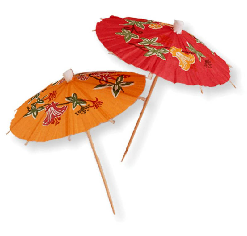 Merveilleux Cocktail Umbrellas HAWAIIAN Floral Food / Drinks Picks Hawaiian Party  Tableware