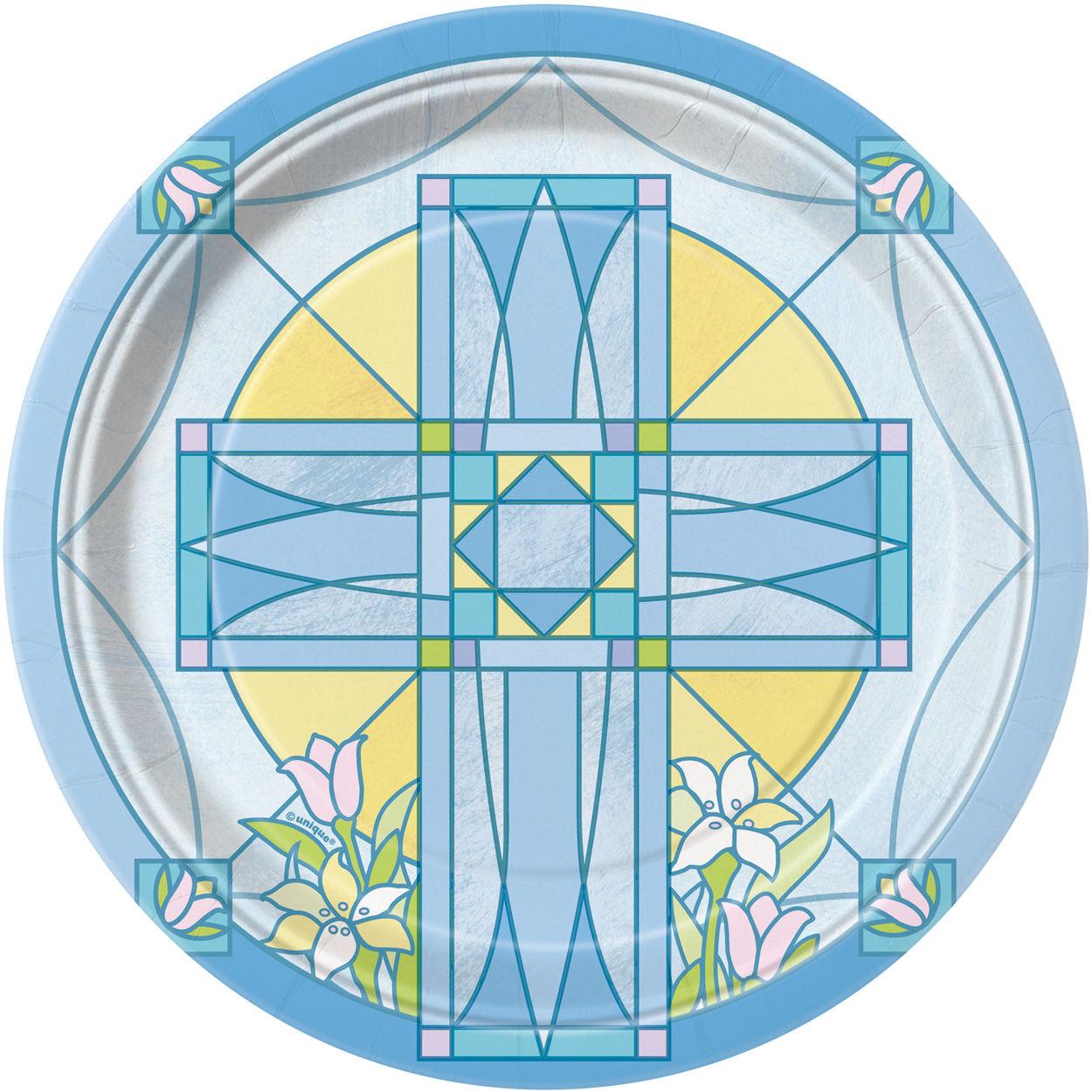 8 x Sacred Blue Cross Paper Plates Christening Confirmation Communion  sc 1 st  eBay & 8 x Sacred Blue Cross Paper Plates Christening Confirmation ...