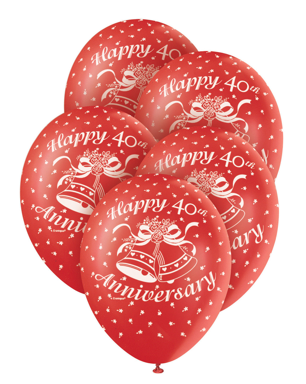 5 x 40th Wedding Anniversary Ruby Wedding Balloons Party Decorations ...