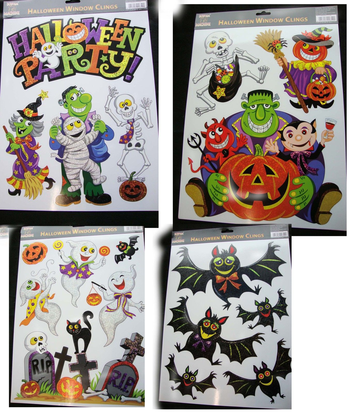 cheap halloween window cling stickers halloween prismatic window decorations