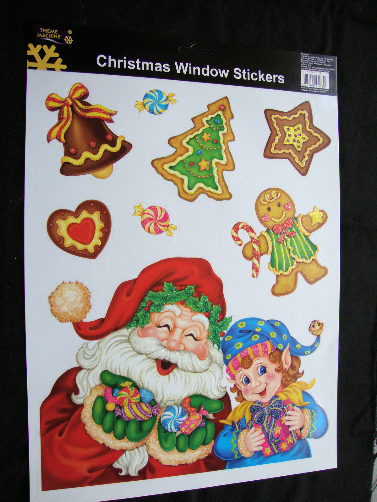 Details about large glitter cheap christmas window stickers decoration santa gingerbread