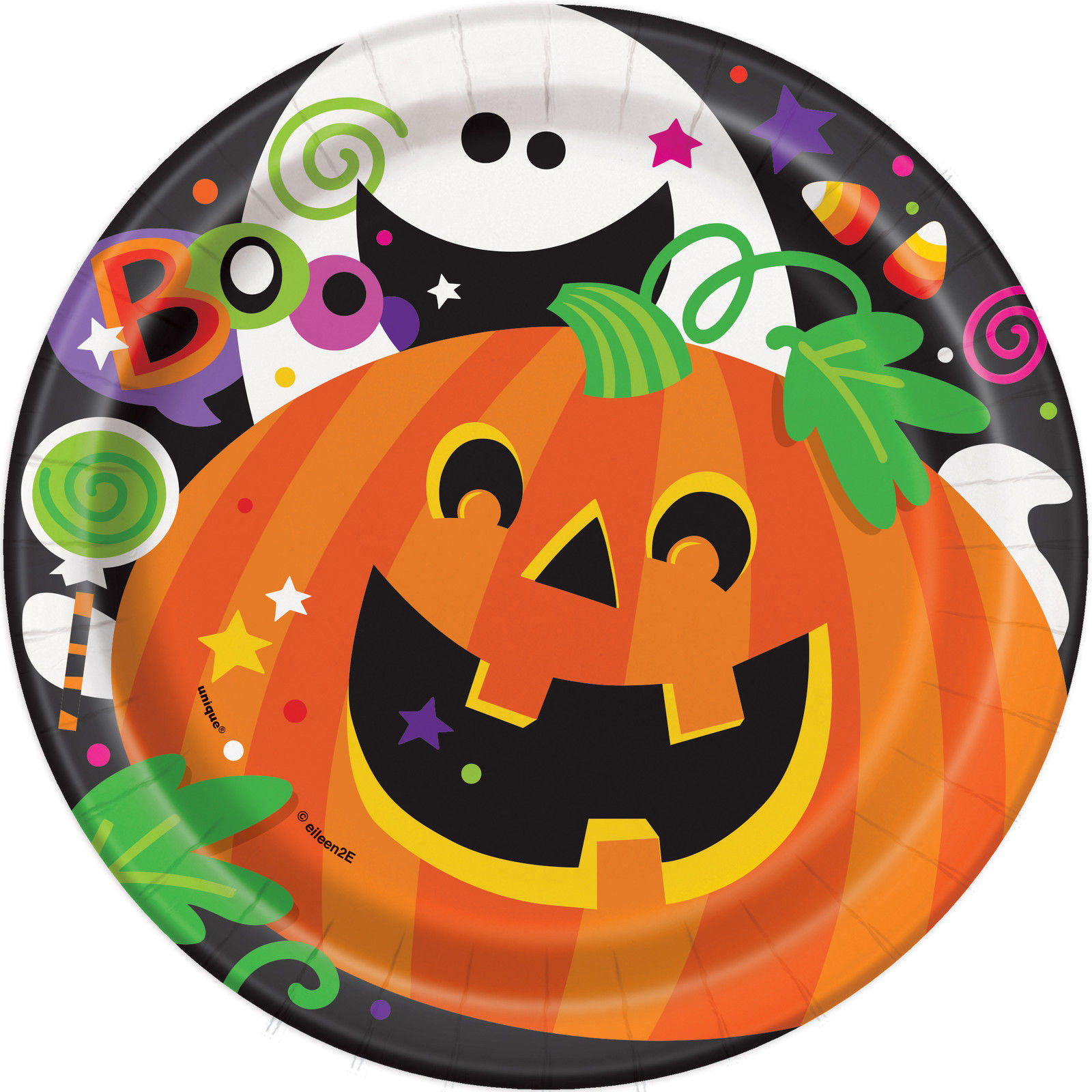 Calabaza Halloween Fantasma Platos De Papel Para Fiesta Mas - Calabaza-de-papel