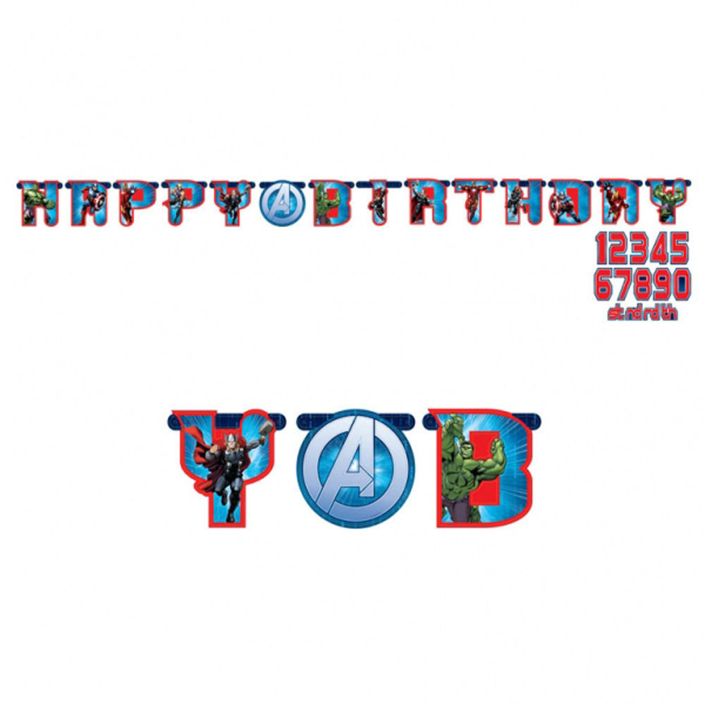 Avengers Happy Birthday Add AGE Banner Party Decoration