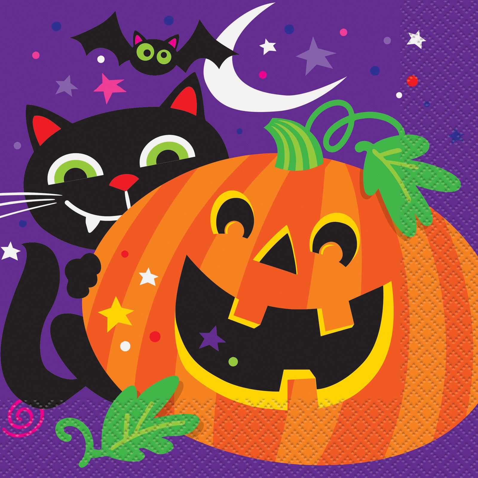 16 X Halloween Servilletas Calabaza Gato Negro Papel Fiesta - Calabaza-de-papel