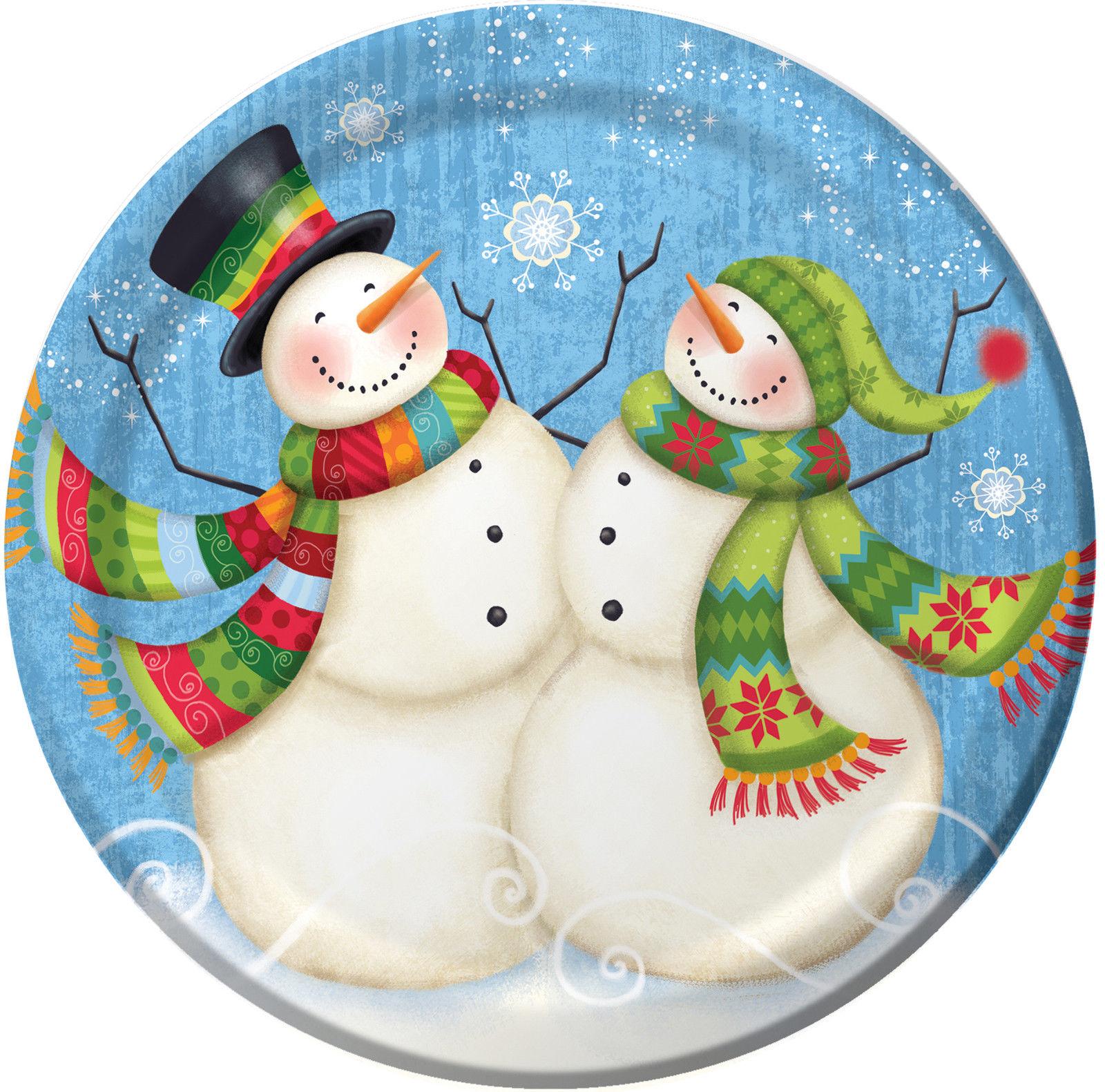 Immagini Di Natale Pupazzi Di Neve.Dettagli Su 8 X Pupazzo Di Neve Natale Carta Piatti Per Cena Blu Da Festa