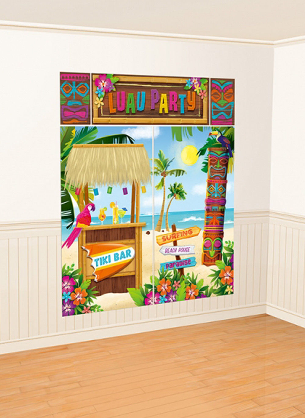 Hawaii Luau Tiki bar Wand Dekoration Szene Hintergrund Party ...