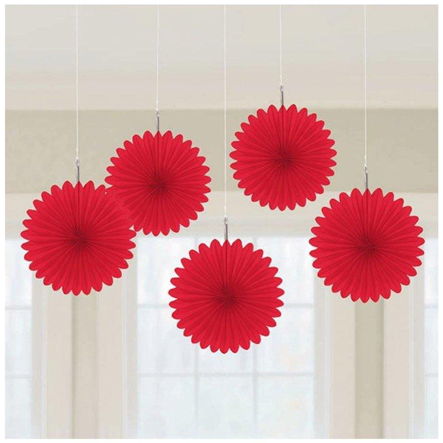 5 X Red Paper Fans Hanging Decorations Ruby Wedding Red Colour Theme