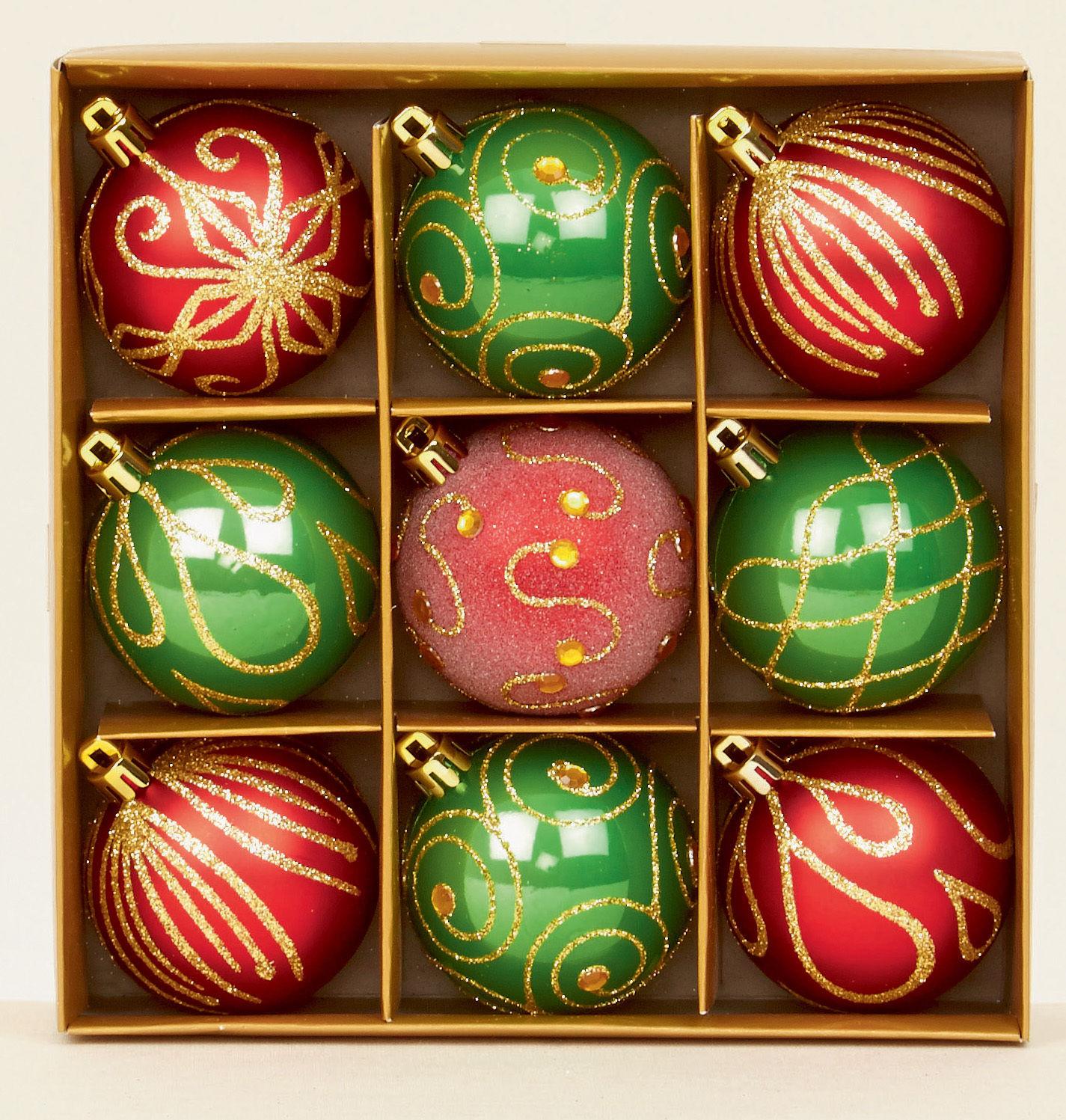 9 x rot gr n verziert weihnachtsbaum kugeln dekorationen. Black Bedroom Furniture Sets. Home Design Ideas