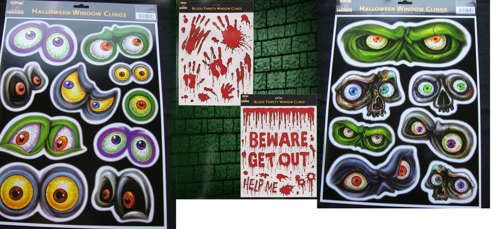 4 x large sheets halloween window stickers clings spooky eyes
