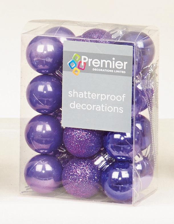 48 x purple shatterproof christmas tree baubles decorations small 3cm size - Small Purple Christmas Tree
