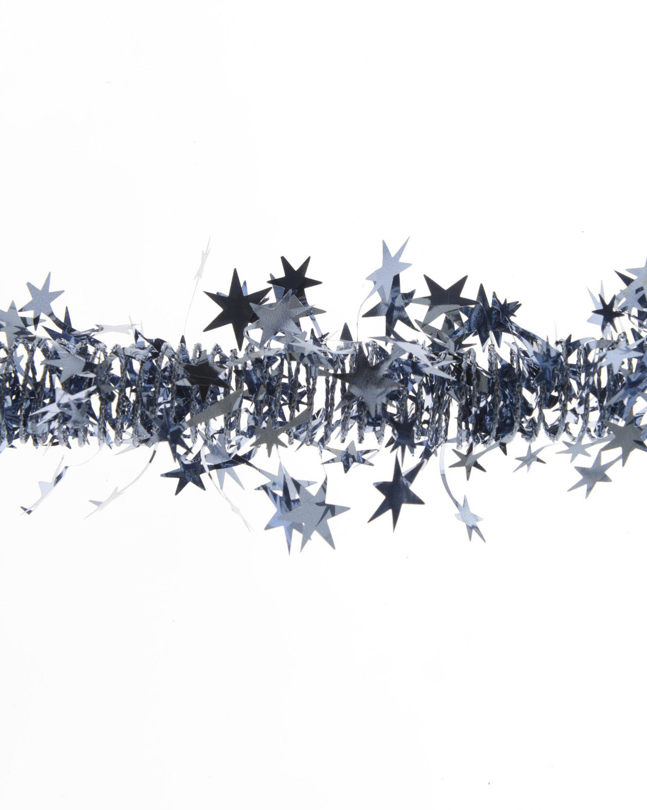 Details About Slate Grey Blue Spiral Garland Shiny Stars Christmas Garland Decoration