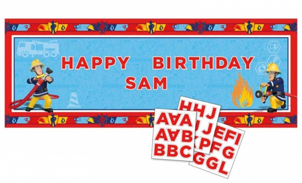 Fireman Sam Happy Birthday Banner To Personalise Party Decoration