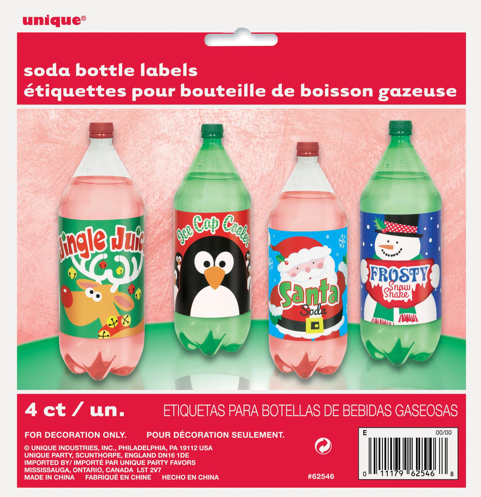 4 Weihnachts Flasche Etiketten 2 Liter Spaß Pop Kinder Getränke | eBay