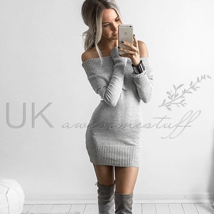 UK Womens Night Out Bodycon Dress Ladies Off Shoulder Jumper Dress ...