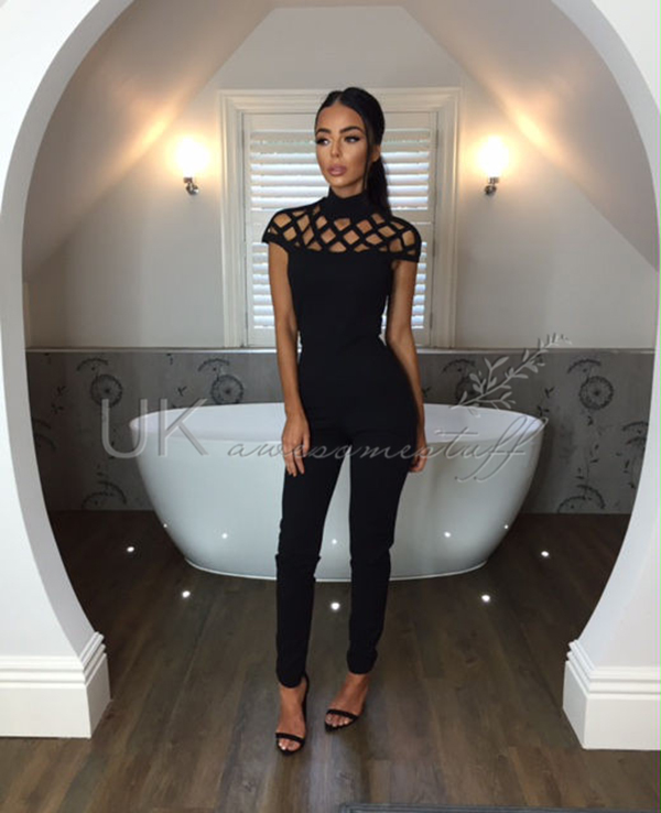 225f6d35204 Sentinel UK Womens Choker High Neck Caged Sleeve Playsuit Ladies Jumpsuit  Size 6 - 18. Sentinel Thumbnail 5