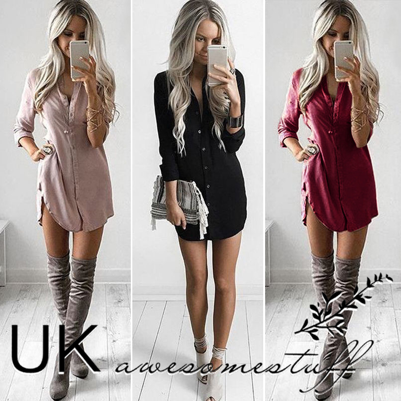 64aa5b6e Details about UK Womens Plain Shirt Dress Ladies Long Sleeve Boyfriend  Shirt Dress Size 6 - 14