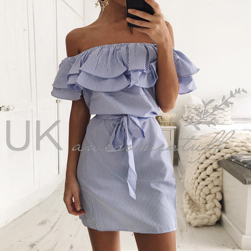 5ae31fd93b4 Sentinel UK Womens Bandeau Holiday Dress Ladies Summer Pinstriped Smock Dress  Size 6-14