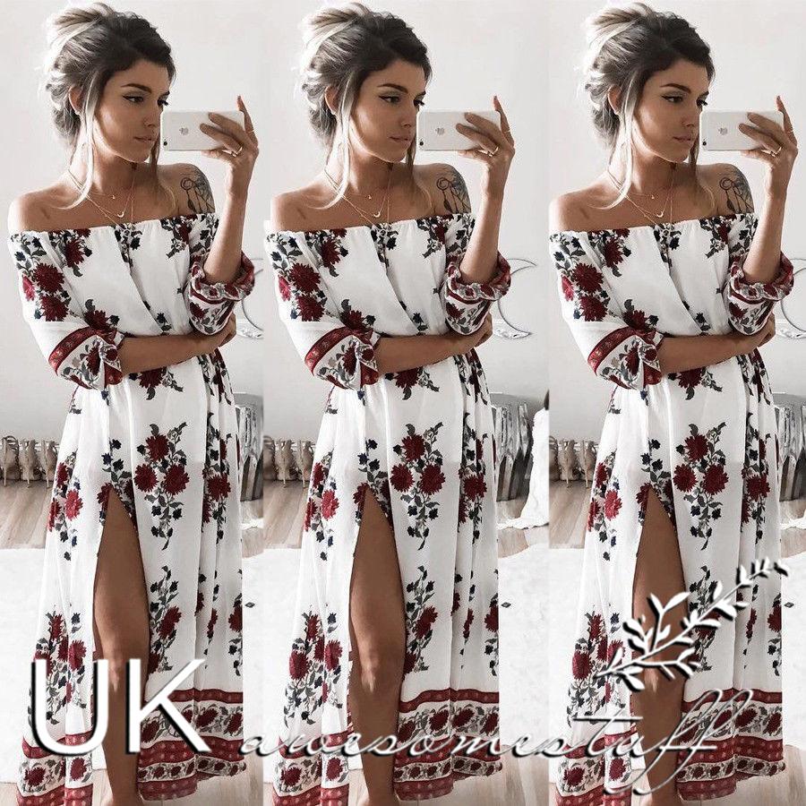 5c25ca260ea Sentinel UK Womens Bandeau Holiday Dress Ladies Summer Paisley Split Maxi  Dress Size 6-14