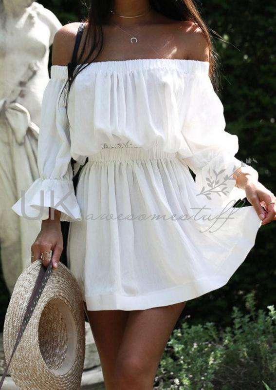 15fec534973 Sentinel UK Womens Bandeau Holiday Dress Ladies Summer Falbala Smock Dress  Size 6 - 14