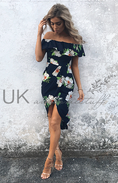 3f9d2c4c7bb Sentinel UK Womens Bandeau Asymmetrical Holiday Dress Ladies Floral Split  Dress Size 6-14
