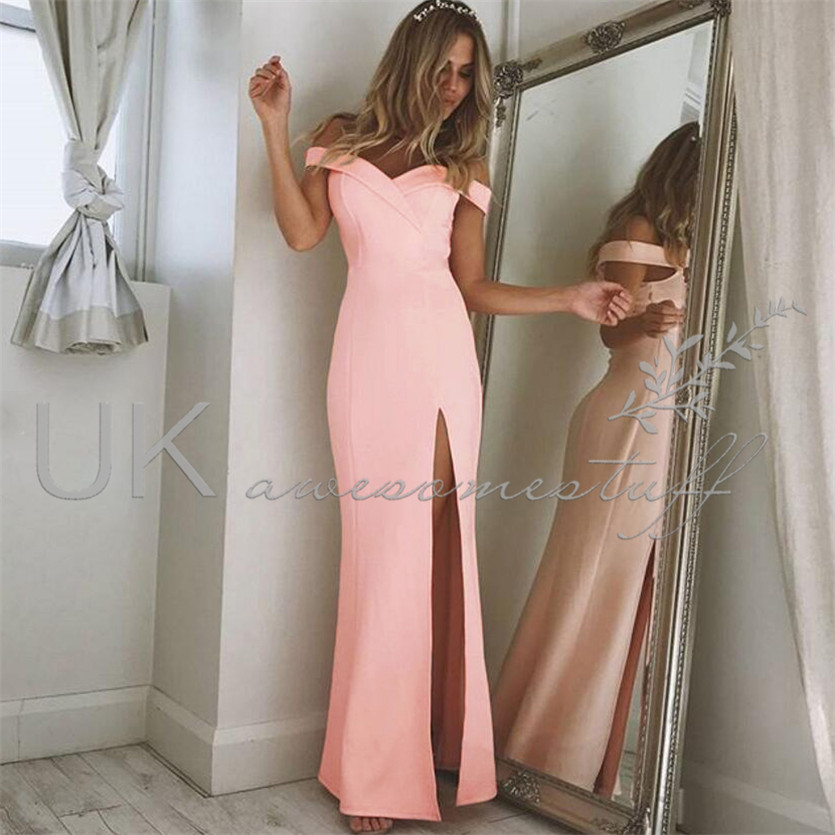 UK Womens Off Shoulder Party Dress Ladies Split Long Christmas Dress ...