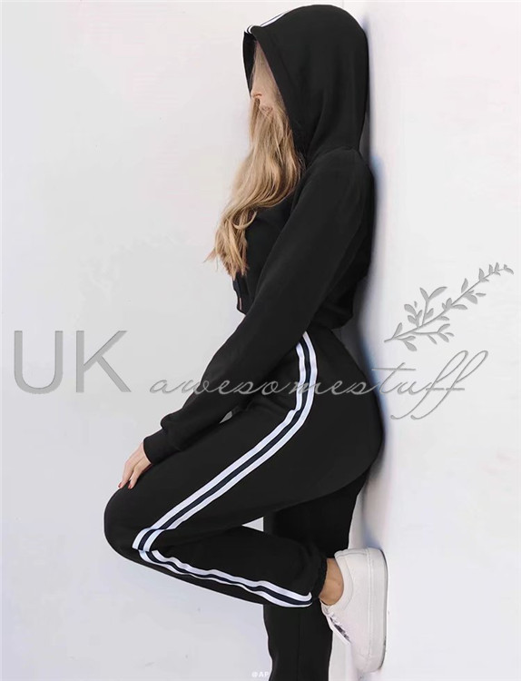 UK Womens 2 PCS Tracksuits Set Ladies Striped Cropped Hooded Loungewear