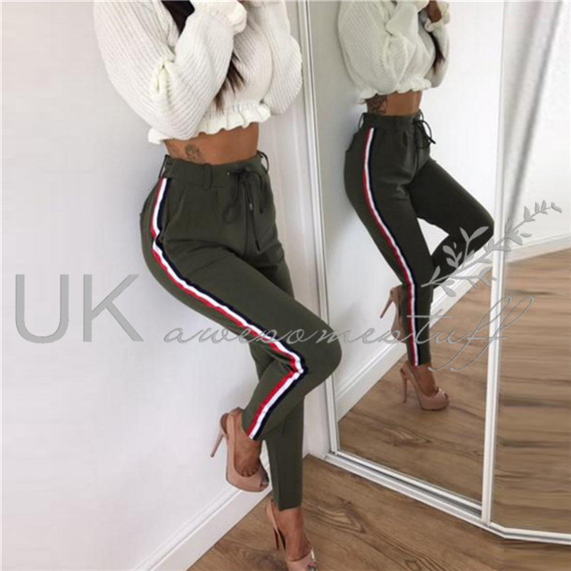 UK Womens High Waist Side Striped Trousers Ladies Active Track Pants Size 6-14
