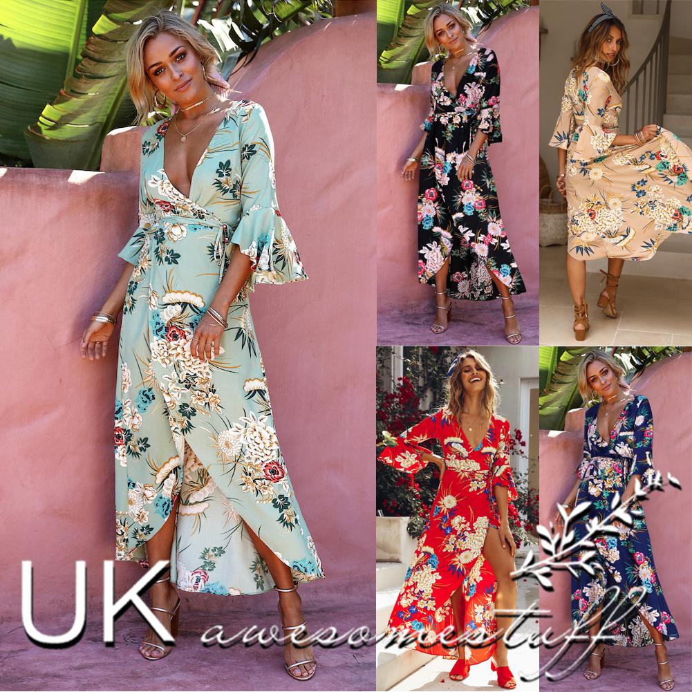 2ebaf4ec907 Sentinel UK Womens Plunge Holiday Dress Ladies Summer Paisley Split Maxi  Dress Size 6-16