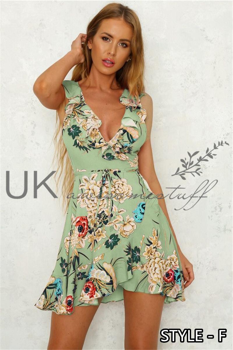 Vestido para mujer Bandeau Vacaciones Reino Unido Damas Vestido Maxi del Verano Paisley Split Talla 6-14