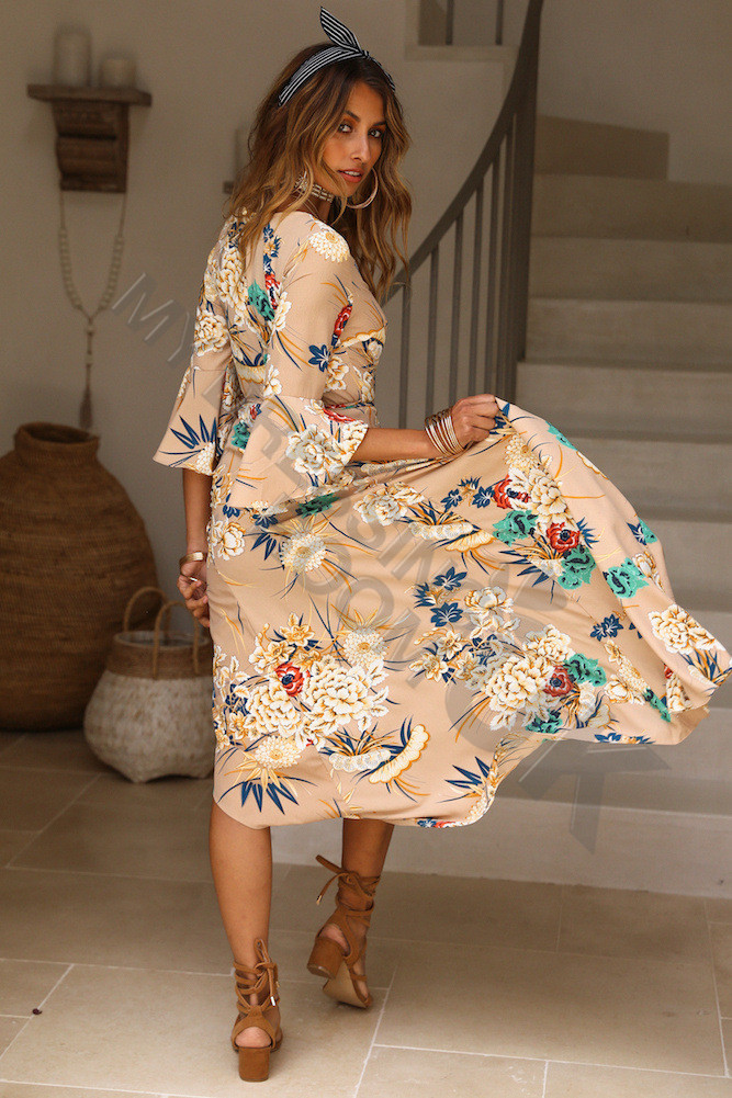 7ea09a94f4b UK Womens Summer Floral Dress Ladies Holiday Paisley Split Maxi Dress Size 6 -16