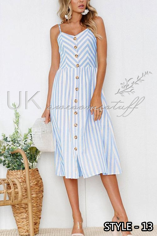 84b8728f22d7 Sentinel UK Womens Summer Holiday Beach Bardot Button Through Ladies Sun  Dress Size 6-20