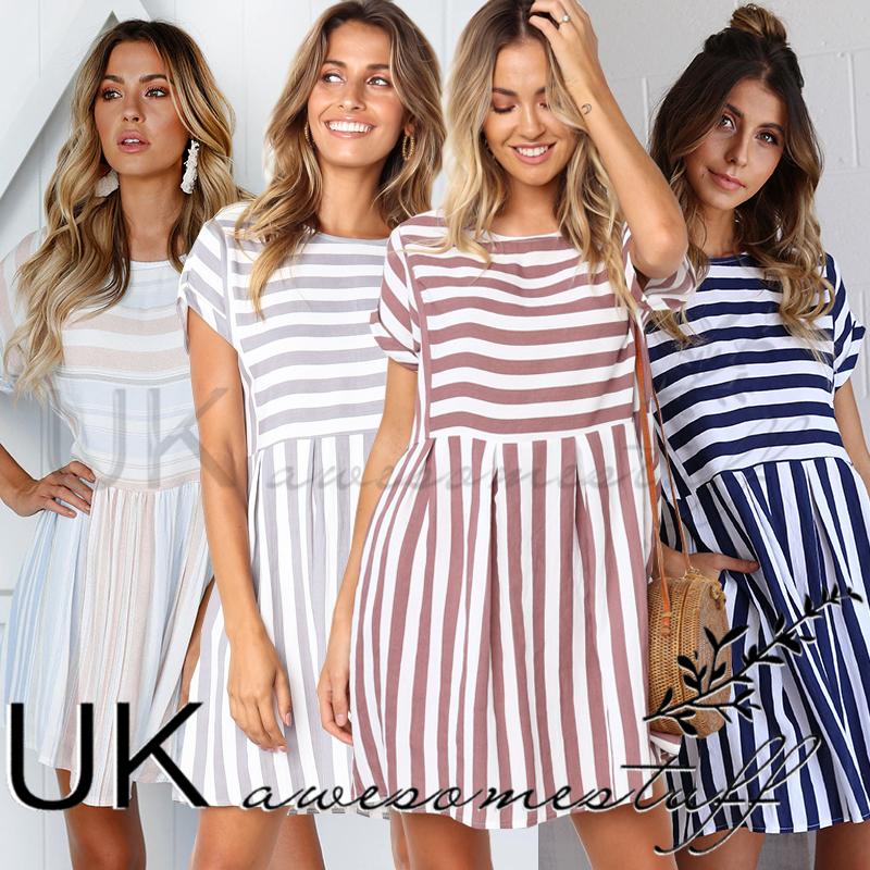 ca2b9a43fd Sentinel UK Womens Summer Striped Mini Shift Dress Ladies Smock Swing Dress  Size 6 - 14
