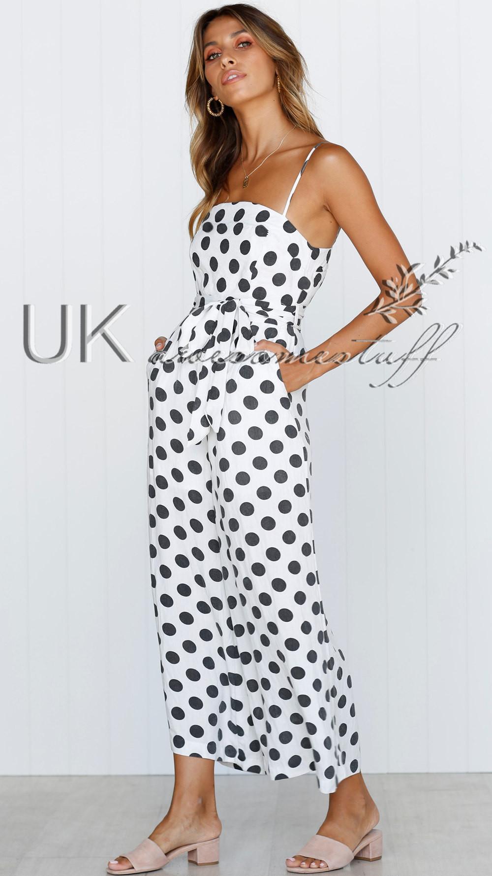 UK Womens Polkadot Wide Leg Jumpsuit Ladies Evening Party Playsuit Size 6-16