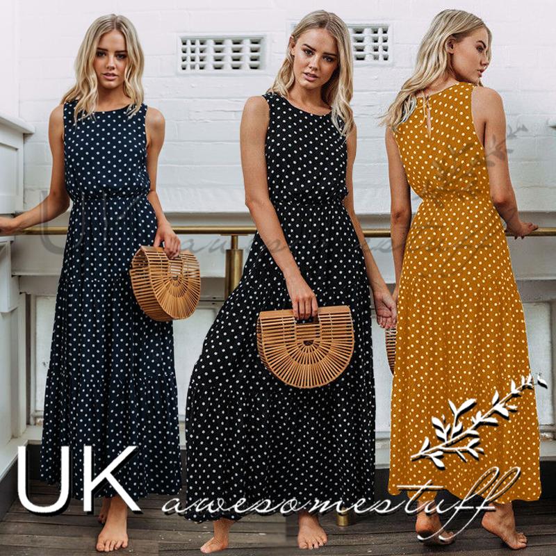84d9eb993e Sentinel UK Womens Polkadot Long Maxi Dress Ladie Evening Party Summer  Sundress Size 6-16