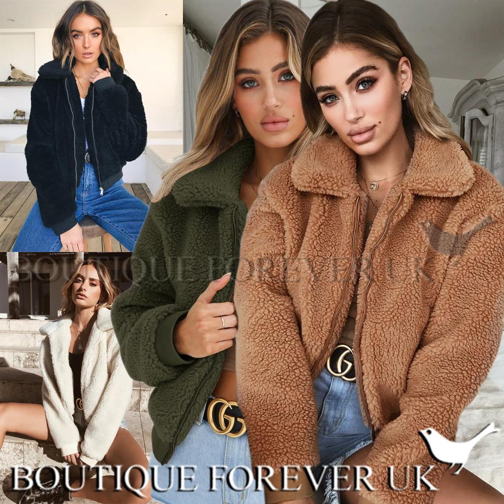 diseño de calidad 75838 63cc7 Detalles de Reino Unido para mujer abrigo corto de oso de peluche Damas  Cremallera Chaqueta de bombardero de piel sintética Borg Talla 6-18- ver ...