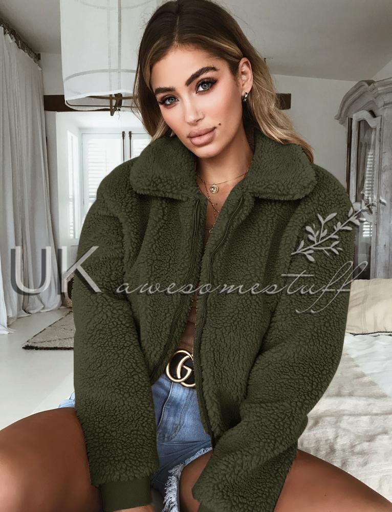 UK Womens Teddy Bear Short Coat Ladies Faux Fur Borg Zip Bomber Jacket Size 6-18