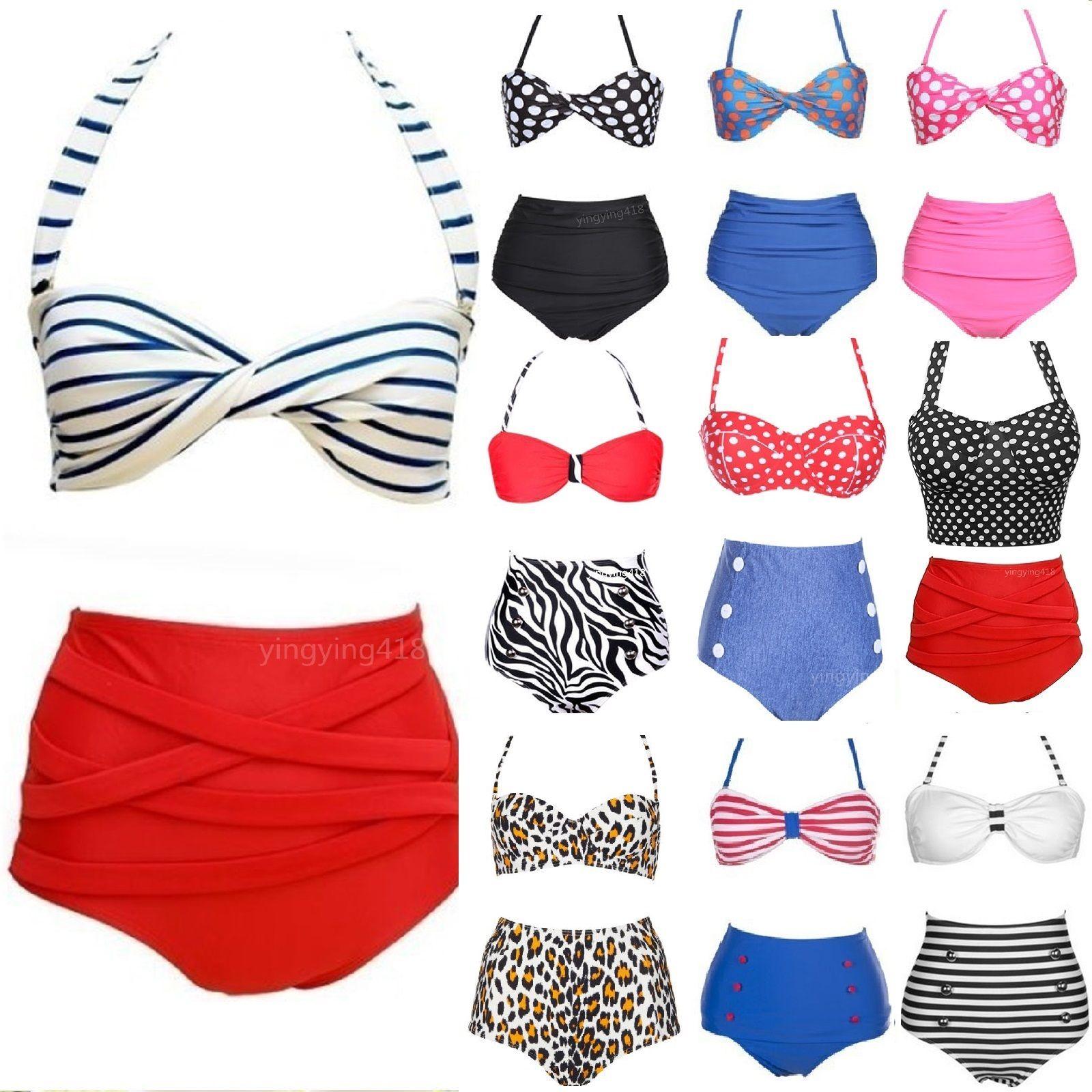 732f4d9509 Sentinel UK Beach Style Vintage High Waist Halterneck Top Bikini Set padded  Swimwear
