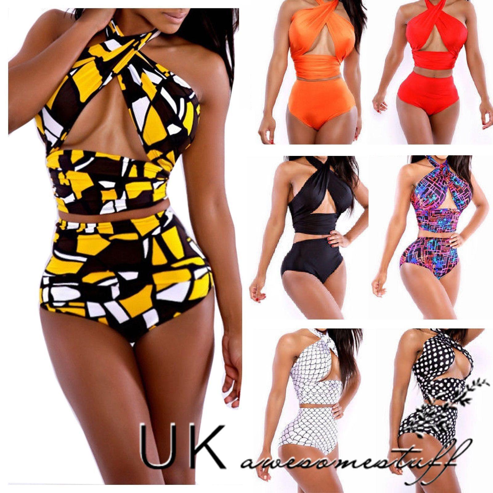 8f5b49d582 Sentinel UK New Sexy Beach Womens Vintage High Waist Bikini Set Bandage Swimwear  Swimsuit