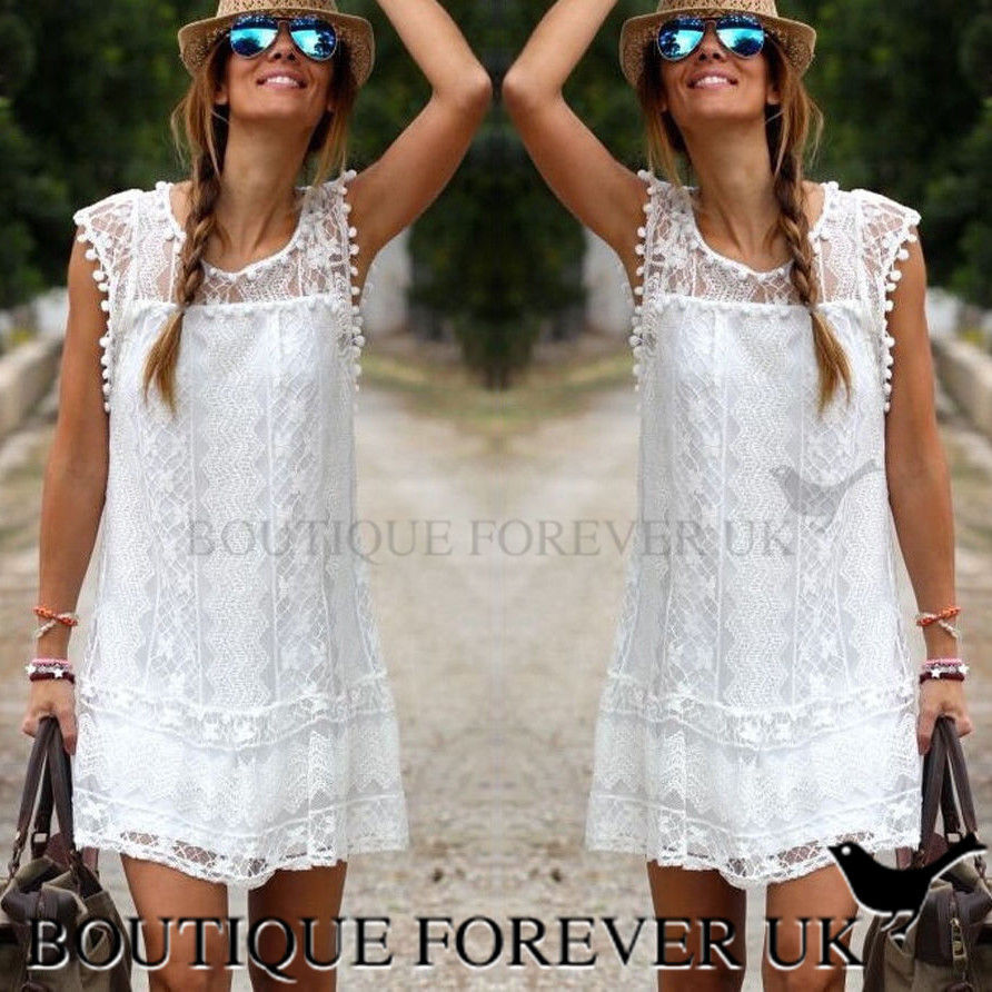 Details About Uk Womens Celeb Sexy Mini Dress Ladies White Lace Summer Beach Party Sun Dress