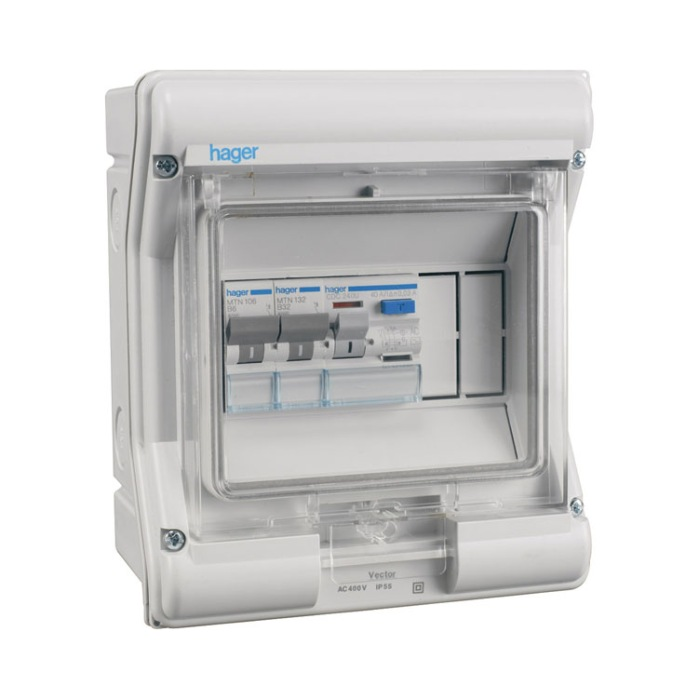 Hager 2 Way Ip55 Garage Consumer Unit With Rcd And 2 Mcb U0026 39 S