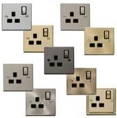 Click Deco 1 Gang 13A DP Ingot Switched Socket With Black Inserts