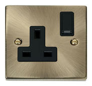 Click Deco 1 Gang 13A DP Switched Socket Black Victorian Ant Brass