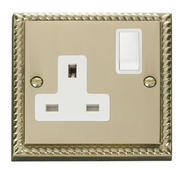 Click Deco 1 Gang 13A DP Switched Socket White Georgian Cast Brass