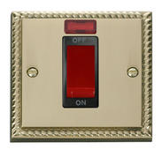 Click Deco 1 Gang 45A DP Switch With Neon Black Georgian Cast Brass