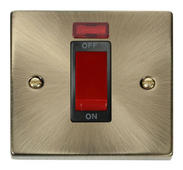 Click Deco 1 Gang 45A DP Switch With Neon Black Victorian Ant Brass